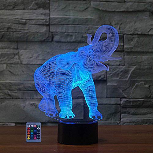 Ilusión Optica 3D Elefante Luz Nocturna Led Lámpara 7/16 Colores Control Remoto USB Power Juguetes Decoración Navidad Cumpleaños Regalo
