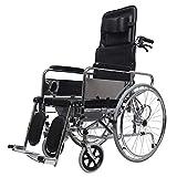 WZC Rollstuhl voll liegend Transport mit hoher Rückenlehne Klappbarer tragbarer Reisestuhl, der ältere Menschen mit Behinderung mit einem Töpfchen trägt