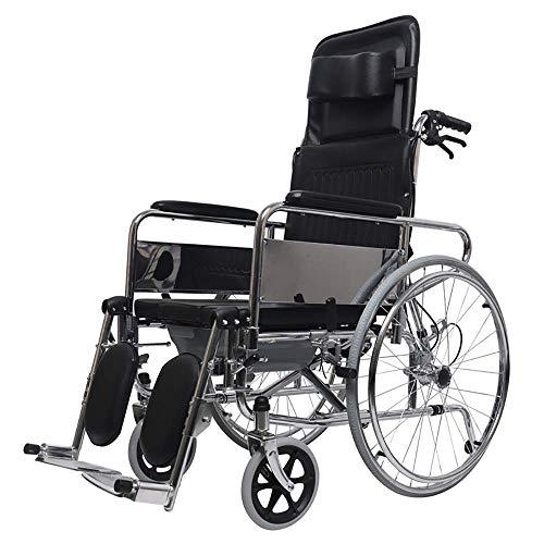 WZC Silla de ruedas Mentira completa Respaldo alto Transporte ligero Silla portátil de viaje portátil Transporte Ancianos discapacitados con un carrito para ir al baño