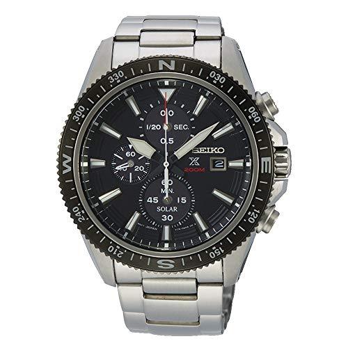 SEIKO heren chronograaf solar horloge met roestvrij stalen armband SSC705P1