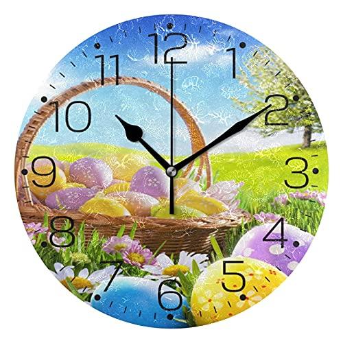Reloj de Pared Redondo de azulejo marroquí Italiano Vintage, Pintura al óleo sin tictac, Reloj Decorativo de la Escuela de la Oficina en casa, Arte 25cm
