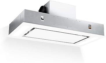 Klarstein Remy - Campana extractora, Extracción máxima 620 m³/h, 3 niveles, Iluminación LED, 2 filtros de grasa de aluminio, Mando a distancia, Pantalla táctil, Cristal protector, 90 cm, Blanco