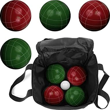 Hey! Play! Bocce Ball Set- Regulation Outdoor Family Bocce Game for Backyard, Lawn, Beach and More- Red and Green Balls, Pallino, and Carrying Case by