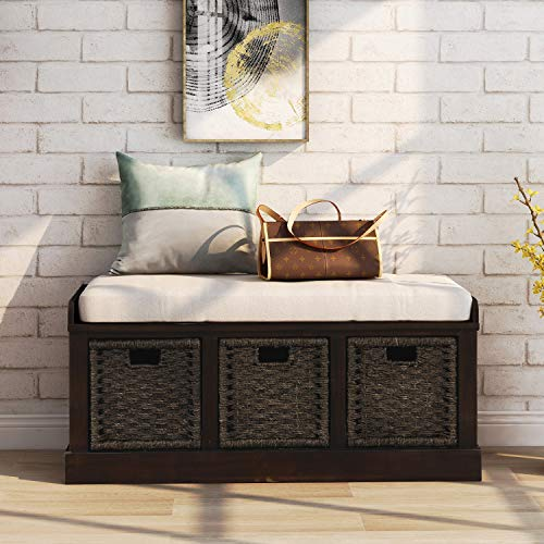 Merax Storage Bench Entryway Storage Bench with 3 Removable Basket, Shoe Bench Fully Assemble Storage Bench with Removable Cushion for Entryway, Hallway,Living Room(Espresso