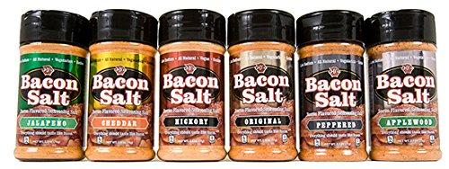 Bacon Salt 6 Pack - Original, Applewood, Hickory, Jalapeño, Cheddar & Peppered Bacon Flavored Seasoning Salts Set