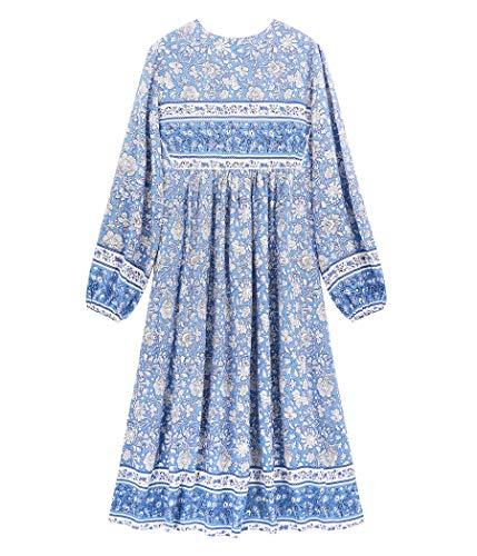 R.Vivimos Women's Long Sleeve Floral Print Retro V Neck Tassel Bohemian Midi Dresses (Medium, Light Blue)