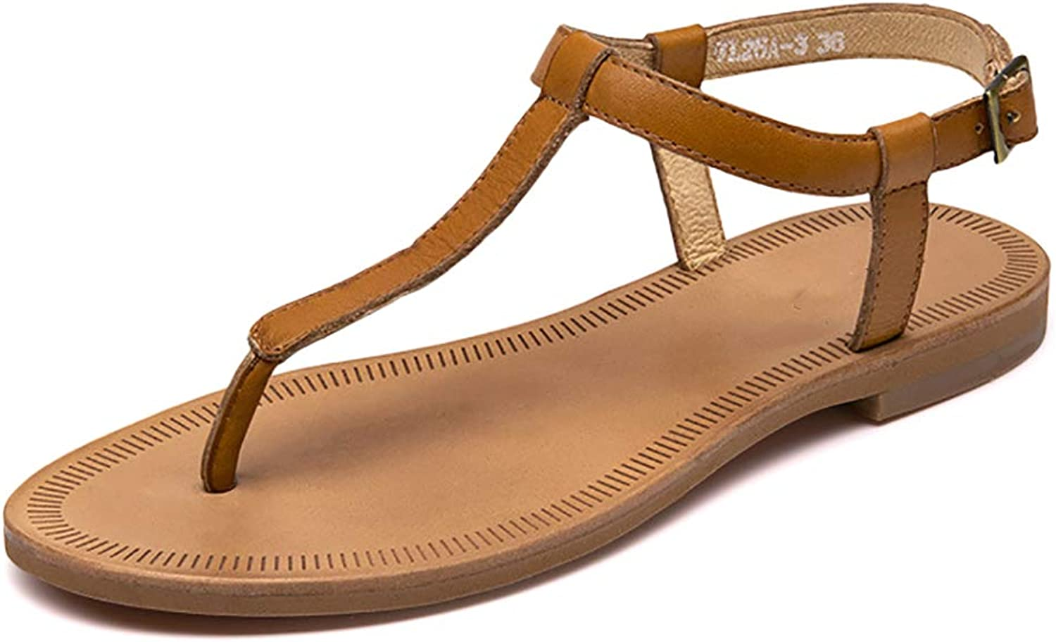 Odema Women's Cowhide Leather Sandals T-Strap Ankle Strap Flat Sandals