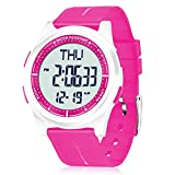 Beeasy Womens Digital Watch Waterproof with Stopwatch Alarm Countdown Timer Dual Time, 12/24 Hours Thin Digital Wrist Watches for Women, Pink