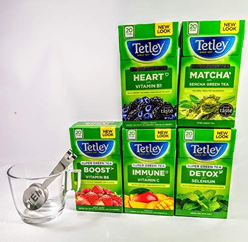 Tetley Super Green Teas Herz, Detox, Boost, Sonnenschein, Immunabwahl, 5 Boxen, 100 Teebeutel mit Glasbecher und Edelstahl-Teebeutelpresse