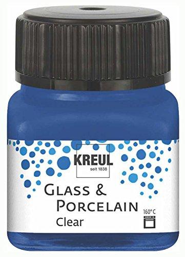 Kreul 16217 - Glass und Porcelain Clear, transparente Glas- und Porzellanmalfarbe auf Wasserbasis, schnelltrocknend, glasklar, 20 ml im Glas, dunkelblau