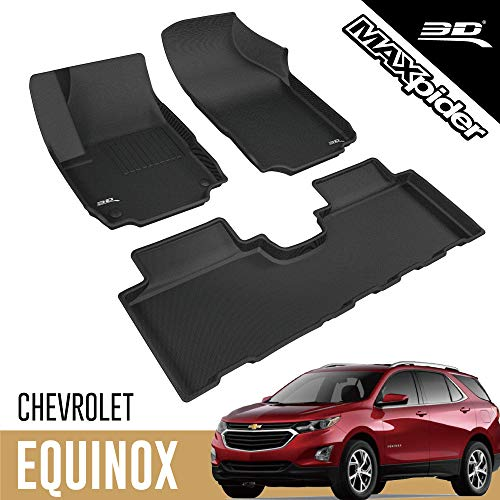 3D MAXpider All-Weather Floor Mats Compatible with Chevrolet Equinox 2018-2021 Custom Fit Car Floor Liners, Kagu Series (1st & 2nd Row, Black)