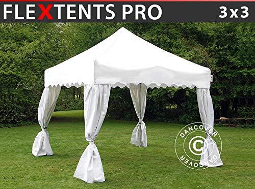 Dancover Pop up gazebo FleXtents Pop up canopy Folding tent PRO Wave 3x3 m White, incl. 4 decorative curtains