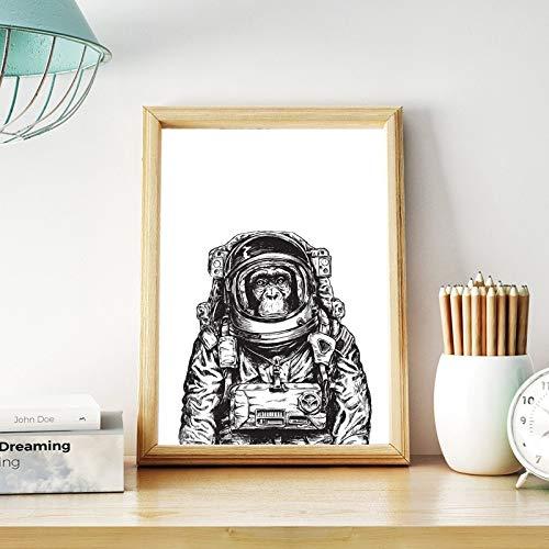 Mono astronauta lienzo arte póster impresiones en blanco y negro imagen de la pared lienzo pintura niños habitación arte decoración de la pared 13x18 cm