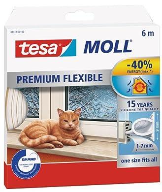 Foto di Tesa 05417-00100-01 Guanizione in Gomma per Porte e Finestre in Silicone tesamoll Premium, resistente alle intemperie, ai raggi uv e all'ozono, 6m x 9mm, Bianco