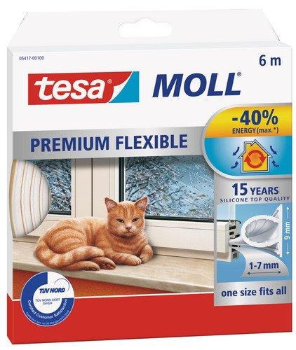 Tesa Moll Premium Flexible - Nastro Sigillante per L'Isolamento di Porte e Finestre - Trasparente - 6 m x 9 mm x 7 mm