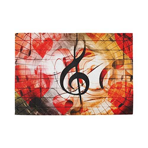 XiangHeFu Tovaglietta Musicale Resistente al Calore Rossa Antiscivolo Cuoricini Musicali 12x18inx6 Tovaglietta Facile da Pulire Lavabile a casa
