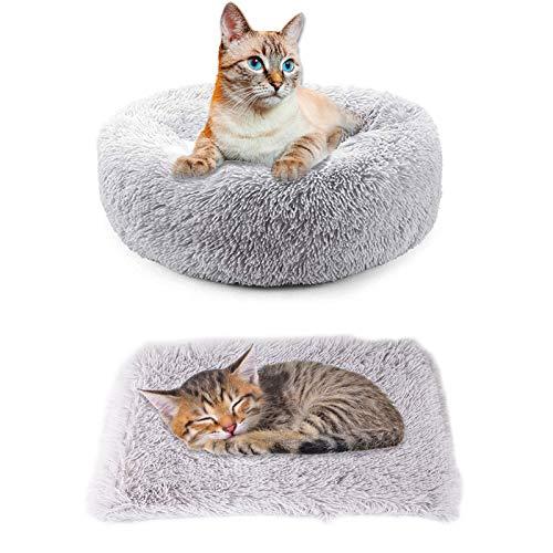 Hundebett Katzenbett + Decken für Hunde 2 PCS Schöne Tierbett Rundes Kissen Plüsch Hunde Betten & Sofas für Katzen Für Welpen, Katzen, Kleintiere Donut-Bett selbstwärmende Katzenbetten Hundematten