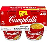 Campbell's Homestyle Chicken Noodle Soup, Perfect Lunch Snack, 7 Ounce Microwavable Cup, 4 Count (Pack of 4)
