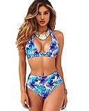 Heekpek - Bañador para mujer (2 piezas), bikini push up, cintura alta, bikini brasileño profundo cuello en V, con braga extraíble, estampado diseño de flores L