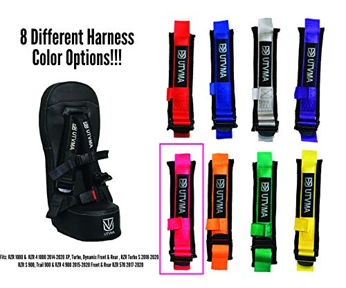 UTVMA RZR1000BS RZR 1000 Bump Seat Inlcudes a COLORED 4-Point Harness | Center Seat | Kid Seat | RZR 1000 & 4 1000 Turbo, Dynamix Front & Rear, Turbo S, 900 S, 900 Trail, RZR 4 900, RZR 570 (Pink)