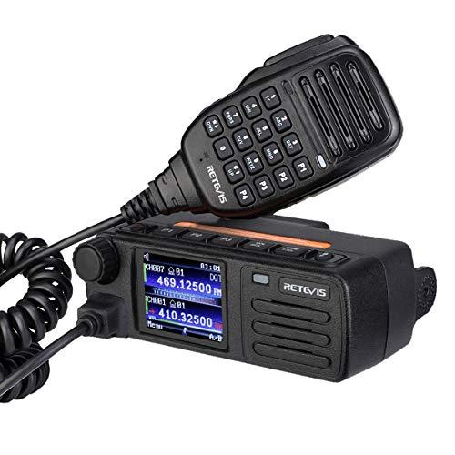 Retevis RT73 Transceptor Móvil, Monitor Dual Banda Dual, DMR Digital/Analógico, 4000 Canales 200,000 Contactos, GPS Incorporado, DMTF, Ranura de Tiempo Dual, Mini Radio Móvil (1 Pieza, Negro)
