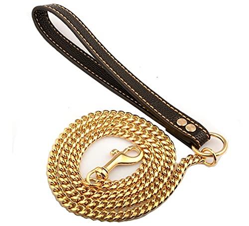 Smycz metalowa, smycz przyjazna psom, smycz metalowa krótka dla psów dużych, średnich i małych , Psy aktywne do 30-60 kg (Color : Black)