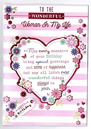 Partner verjaardagskaart 'naar de vrouw in mijn leven' met Sentiment Verse