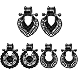 SERYNOW 3Pairs Ear Gauge Plugs and Tunnels Lotus Heart Dangle Gauges Black Stainless Steel Ear Stretcher Expander Flesh Tunnel Ear Plugs Piercing Jewelry for Women (5/8' (16mm))