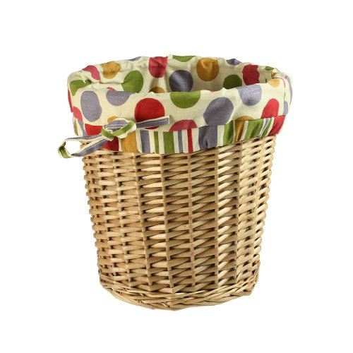 Charming woven wicker lined basket waste paper home bathroom bedroom rubbish kitchen Small