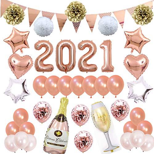 2021 Neujahrsparty-Dekorationsset, 40 Stück Silvester-Party, Roségold-Luftballons, glitzernde hängende Wirbel, Banner, Papier-Pompon für Hochzeit, Abschlussfeier, Partyzubehör