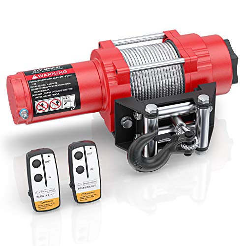 Ayleid 12V 4500lb DC Electric Winch Kits, with 35ft Steel Wire Rope and 2 Wireless Remote Control for Towing ATV/UTV Off Road(Red)