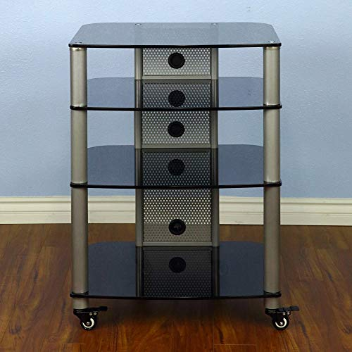VTI NGR404SB - 4 Shelf Audio Rack with Gray Silver Poles and Black Glass.