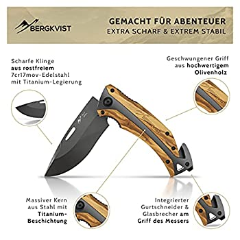 BERGKVIST® K30 Titanium Couteau pliant (couteau multifonction 3-en-1) avec manche en bois I couteau de survie avec pochette de ceinture (K30)