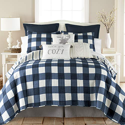 Levtex Home - Camden Quilt Set -King Quilt + Two King Pillow Shams - Buffalo Check in Navy and Cream - Quilt Size (106 x 92 in.) and Pillow Sham Size (36 x 20 in.) - Reversible Pattern - Cotton