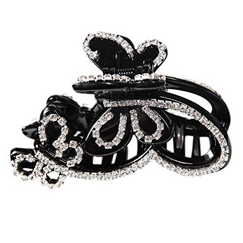 Eleery Bijoux Femme Pince Clip Cheveux Longue Coiffure Epingle Barrette Decorative Élégant Papillon Vol Strass Cristal Gripper Side Noué Noir