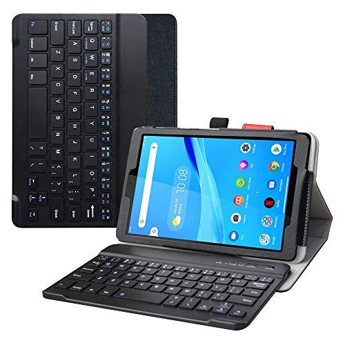 LFDZ Lenovo Tab M8 FHD Custodia,in Pelle PU Custodia con Wireless Removibile Custodia Protettiva Flip per 8  Lenovo Tab M8 FHD (2nd Gen) TB-8705F Tablet,Nero