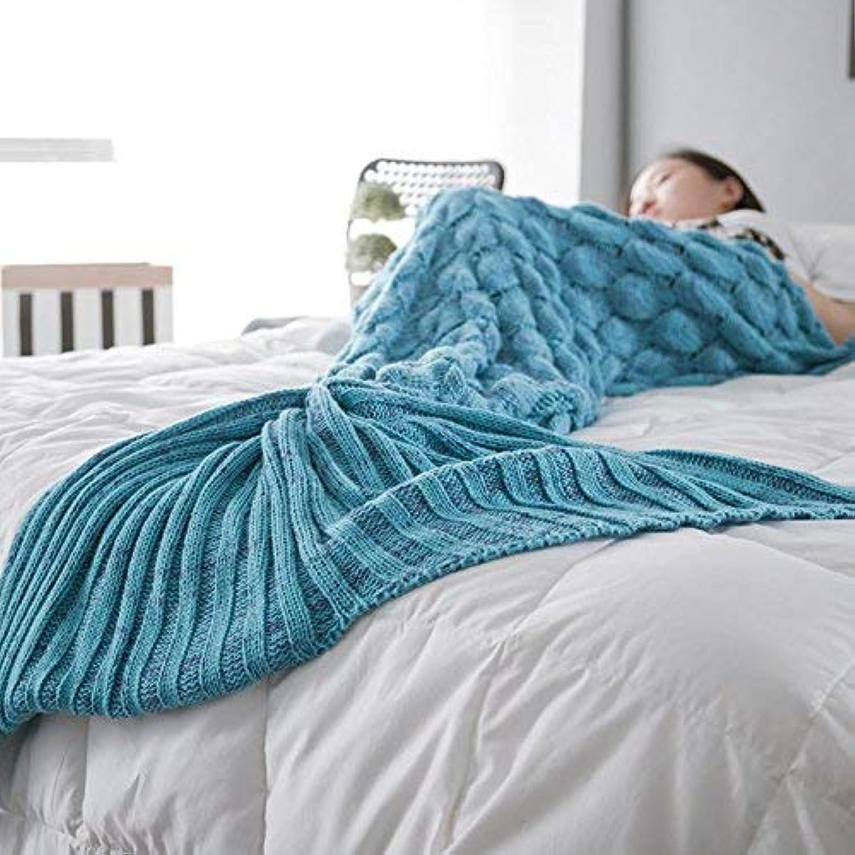 JINGB Home Mermaid Sofa Mermaid Tail air Conditioning Knit nap, Pink, 195  90cm (76.8  35.4 inch) (color   Lake bluee, Size   140  60CM)