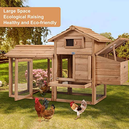 """COZIWOW 2-Tier 60"""" Outdoor Wooden Chicken Coop Hutch for Small Pets with Spacious Run, Nesting Box, and Egg Collection Box, Ramp, Original Wood Color"""
