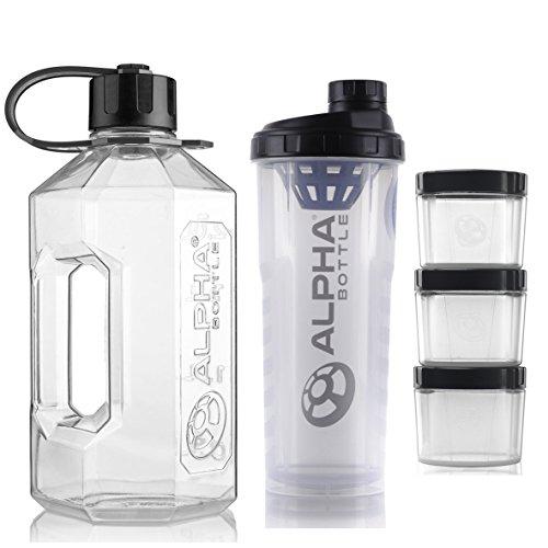 Alpha Bottle 2 Litre XXL Water Bottle Jug + 1 Litre Protein BCAA Shaker + Supplement Storage Pods (Pack of 3) (Clear Black)