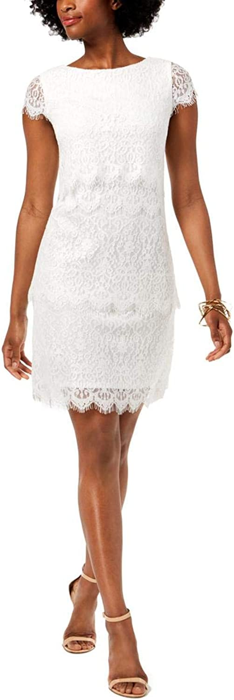women Ricco Womens Short Lace Sheath Dress Ivory 8