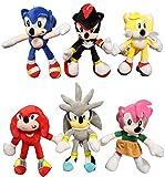 Peluche Sonic 6 piezas Miles Prower Tails animales peluche muñeco peluche Sonic The Hedgehog juguete...