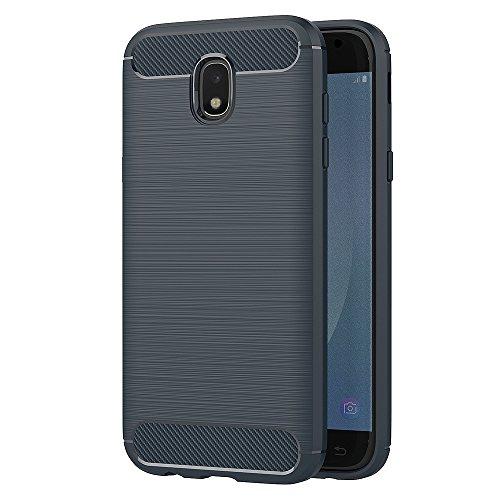 AICEK Funda Samsung Galaxy J5 2017, Azul Silicona Fundas para Samsung J5 2017 Carcasa J5 2017 Fibra de Carbono Funda Case (5,2 Pulgadas SM-J530F)