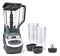 Ninja Professional Blender with Nutri Ninja Cups has 1100 watts of professional performance power with 3 speeds, pulse, and single serve functions 72 Ounce Total Crushing Pitcher pulverizes ice to snow in seconds for creamy frOunceen drinks and smoot...