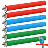 Popuppe 6 perchas naturales para pájaros, periquitos, cacatúas, ninfas, barras de madera natural para jaulas de pájaros, para jaula de pájaros, juguetes de pájaros, 20 cm (M)
