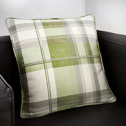 Fusion - Balmoral Check - 100% Cotton Filled Cushion - 43x43 cm in Green