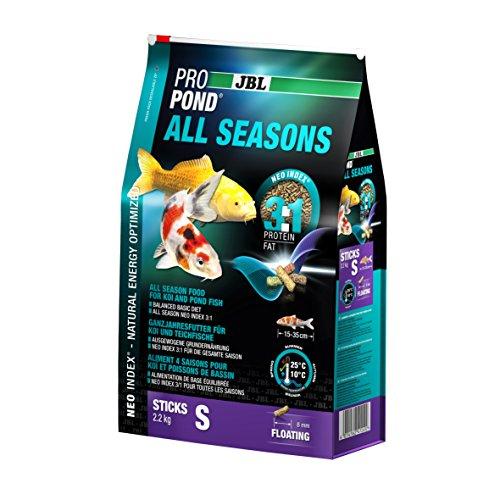 JBL Nourriture standard pour Koïs, Bâtonnets Alimentaires Flottants, Nourriture de saison, ProPond All Seasons, Taille: S, 2,2 kg