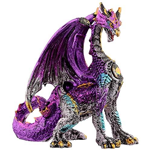 HoitoDeals Figura de dragón de leyendas oscuras con escudo de cristal para decoración del hogar (1 pieza de color al azar)
