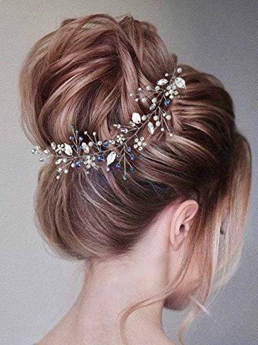 Vakkery Brautschmuck Kristall Haar Rebe Silber Perle Stirnband Blatt Haarteil Kopfschmuck Hochzeit Haarschmuck für Frauen Mädchen Braut Brautjungfern