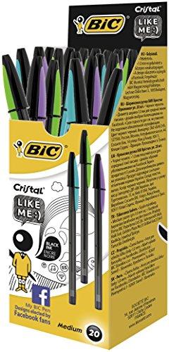 Bic Cristal Like Me Punta Media 1 mm Confezione 20 Penne Colore Nero