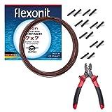 Flexonit komplett Angelset Raubfischvorfach Hechtvorfach - 7x7 Stahlvorfach 0,36mm + Quetschhülsen + Quatschhülsenzange.